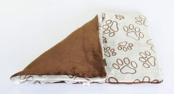 hondenmat met pootjes bruin grijs 70 x 45