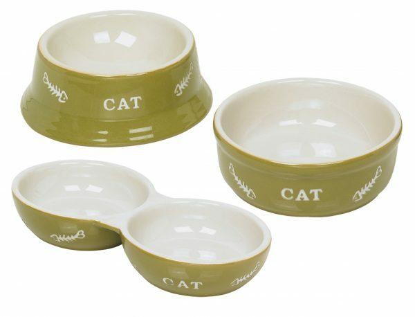 """Eetpot kat aardewerk """"cat"""" groen  Ø14cm"""