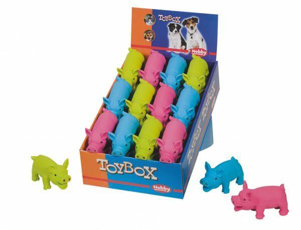 DIS24 Speelgoed hond latex flashy varken Ass.11cm