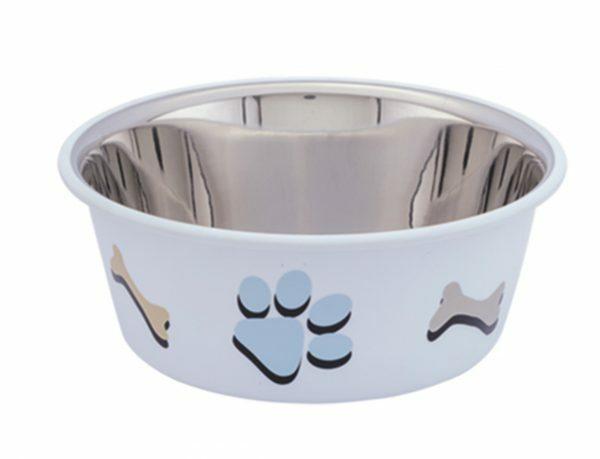 Eetbak inox antislip Cutie Paws wit 14,5cm 0,90L