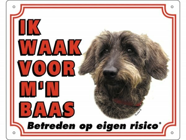 Waakbord PVc Ruwharige Teckel wit NL