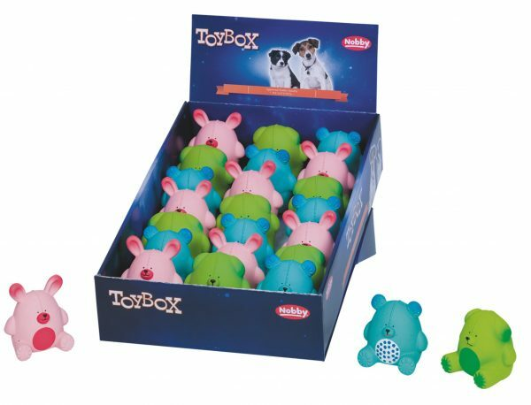 DIS21 Speelgoed hond latex Spring varken Ass.9cm