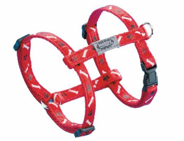 Harnas hond nylon Poot & Been rood 10mmx20-35cm