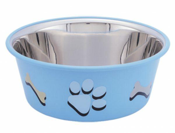 Eetbak inox antislip Cutie Paws blauw 19,5cm 1,90L