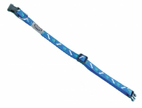 Halsband hond nylon Poot & Been blauw 10mmx20-35cm
