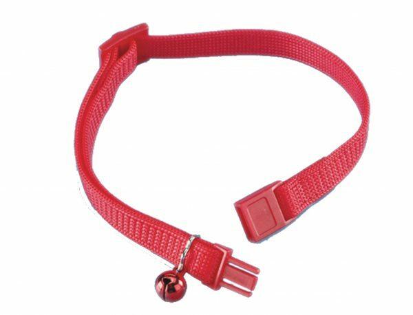 Halsband kat regelbaar + belletje rood