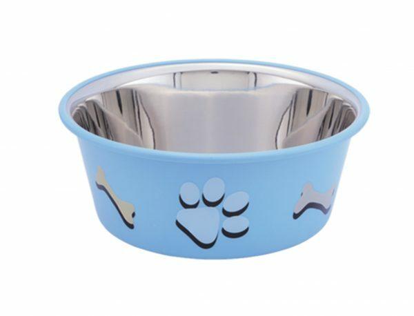 Eetbak inox antislip Cutie Paws blauw 11,5cm 0,40L