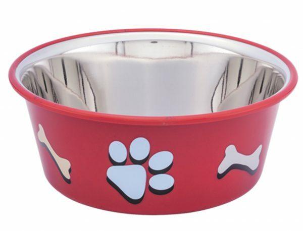 Eetbak inox antislip Cutie Paws rood 19,5cm 1,90L
