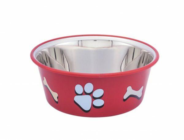 Eetbak inox antislip Cutie Paws rood 11,5cm 0,40L