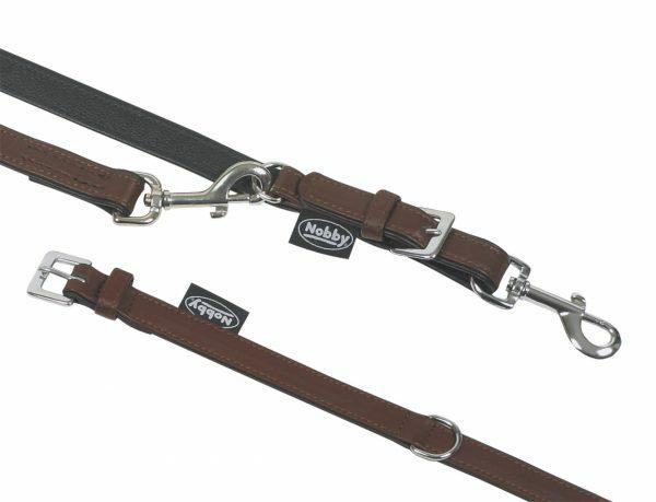 Halsband hond nappaleder bruin 27cmx13mm