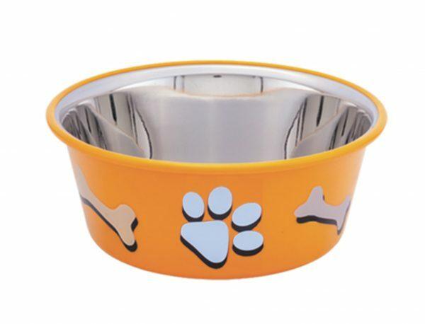 Eetbak inox antislip Cutie Paws oranje 14,5cm 0,9L
