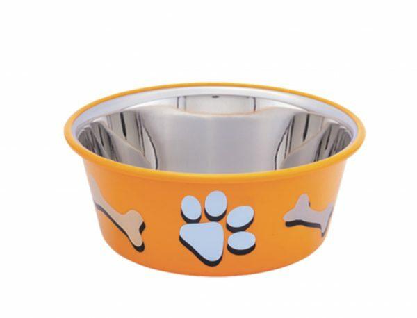 Eetbak inox antislip Cutie Paws oranje 11,5cm 0,4L