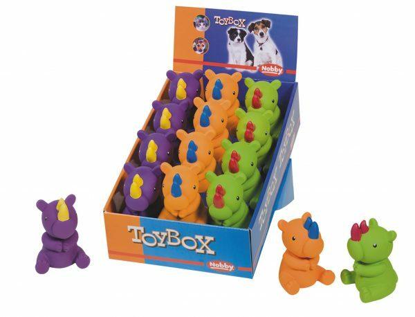 DIS12 Speelgoed hond latex neushoorn Ass.11,5cm