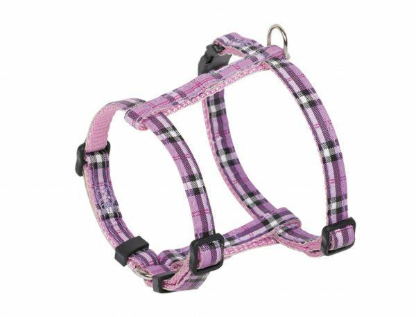Harnas hond nylon Schotse Ruit paars 10mmx20-35cm