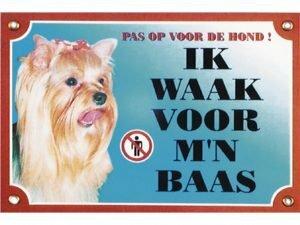 Waakbord gelamineerd Yorkshire Terrier blauw NL