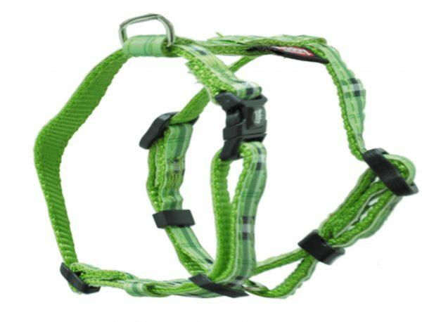 Harnas hond nylon Schotse Ruit groen 10mmx20-35cm