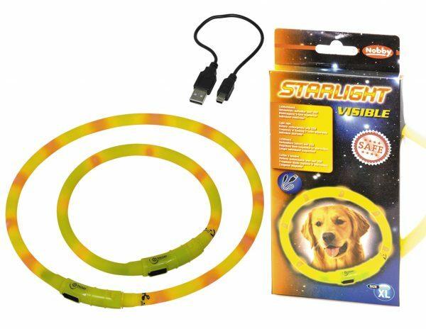 LED Lichtgevende halsband Visible geel 10x70cm USB