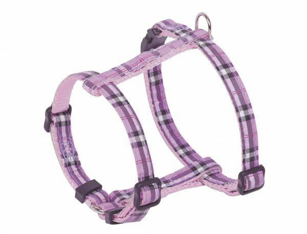 Harnas hond nylon Schotse Ruit roze 10mmx20-35cm