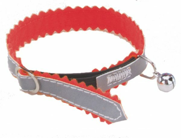 Halsband kat reflecterend+belletje elasti rood