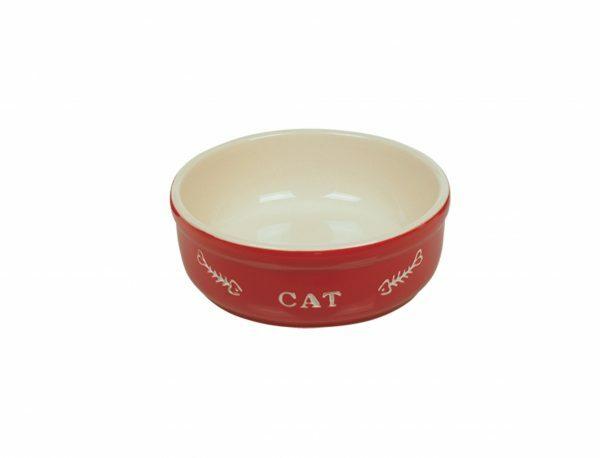 "Eetpot kat aardewerk ""cat"" rood Ø14cm"