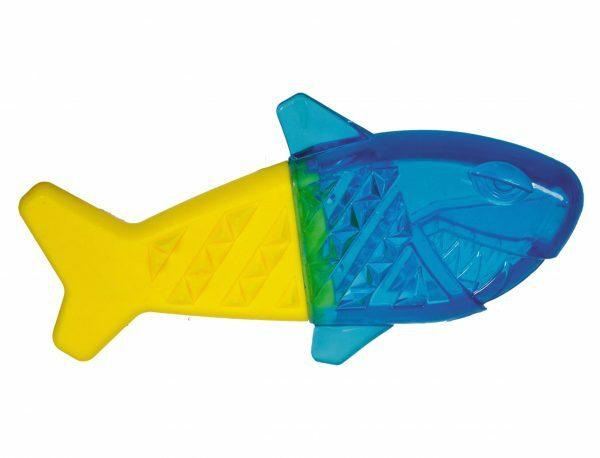 Speelgoed hond Cooltoy haai blauw/geel 21,7cm