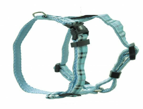 Harnas hond nylon Schotse Ruit blauw 10mmx20-35cm
