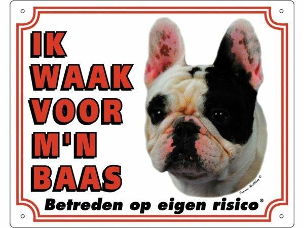 Waakbord PVc Franse Buldog wit NL