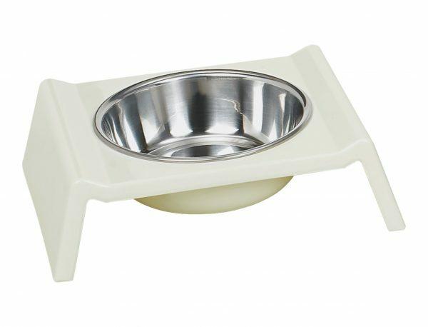 Eetpot hond inox/quatro melamine wit 17cm 0,16L