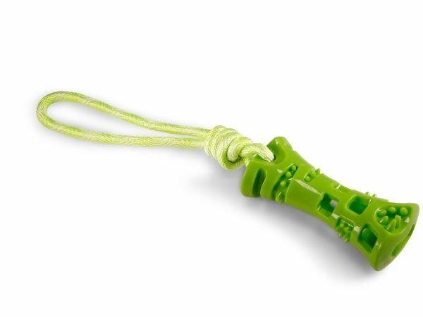 Speelgoed hond TPR groen been met touw 37cm