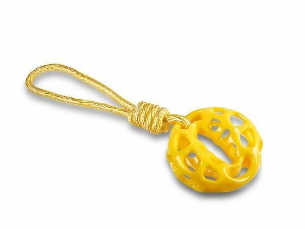 Speelgoed hond TPR ring geel met touw 34cm