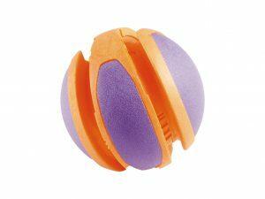 Speelgoed hond TPR bal oranje-paars 14cm