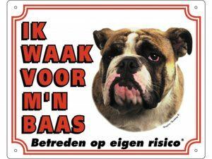 Waakbord PVc Engelse Buldog wit NL