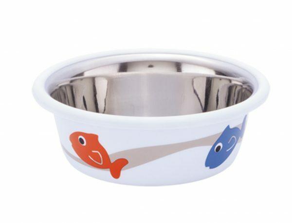 Eetbak inox antislip Cutie Fish wit 9,5cm 0,25L