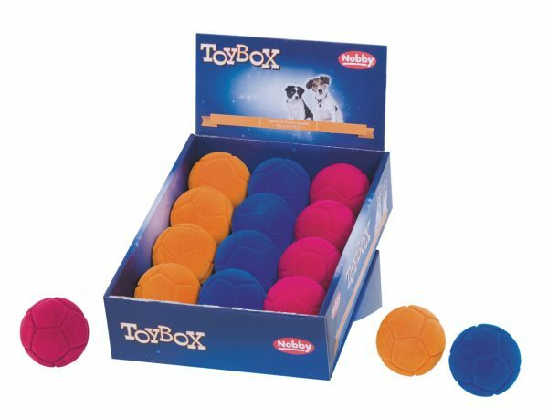 DIS12 Speelgoed hond gummi flocking bal Ass.6,5cm