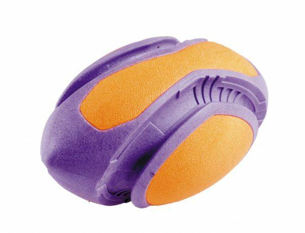 Speelgoed hond TPR rugby oranje-paars 18cm