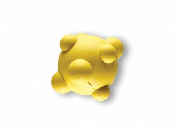 Speelgoed hond rubber bal met noppen geel Ø7cm