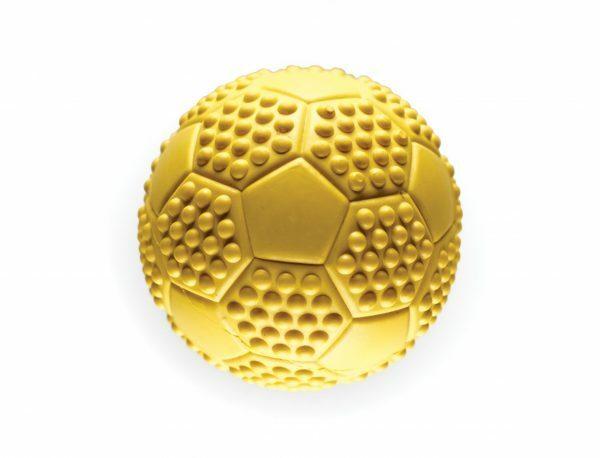 Speelgoed hond rubber voetbal geel Ø7cm