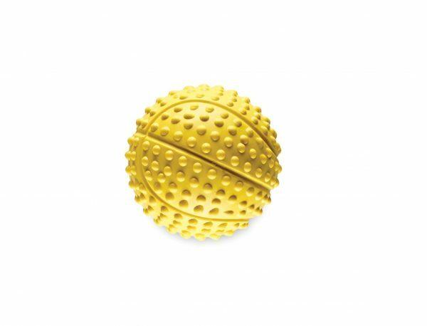 Speelgoed hond rubber basketbal geel Ø5,5cm