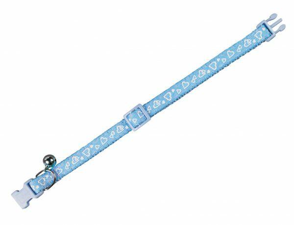 Halsband kat Hart blauw 10 mm x 20-30 cm