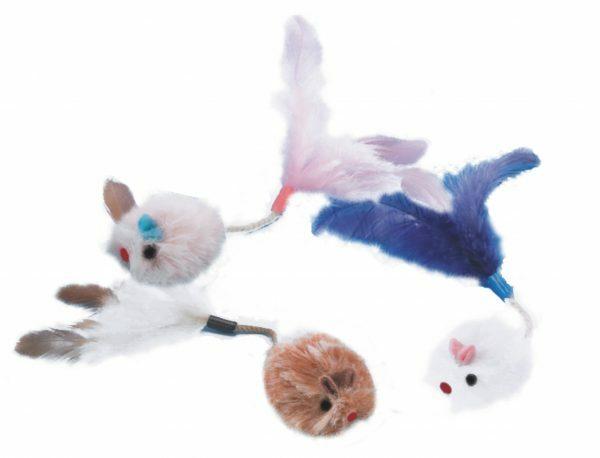 Pluche muis met pluim Ass. 3 cm (3)