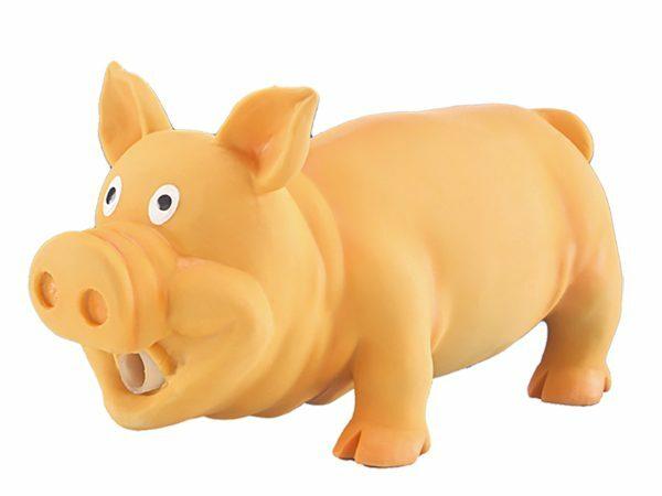Speelgoed hond latex varken oranje 20cm