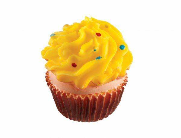 Speelgoed hond vinyl pieper cupcake geel 8cm