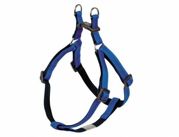 Harnas hond nylon Soft Grip blauw 10mmx30-40cm