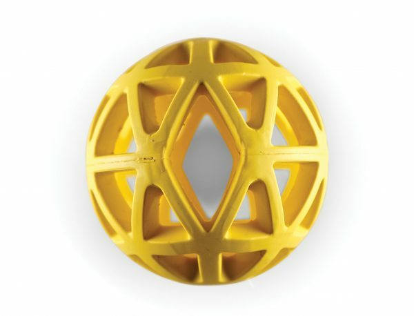 Speelgoed hond rubber holle bal geel Ø9cm