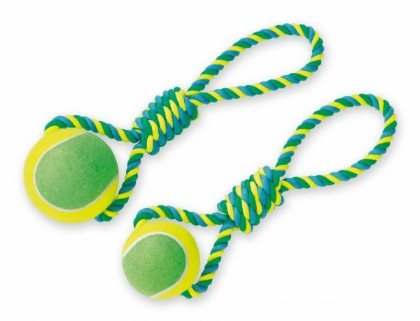 Spgd hond katoen trekkoord+tennisbal 440 gr 45cm