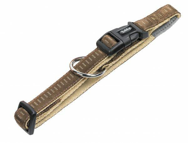 Halsband hond nylon Soft Grip bruin 25mmx40-65cm