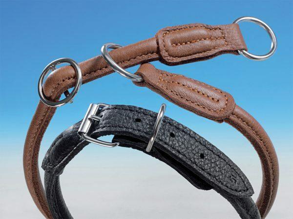 Halsband elandleder 30 cm zwart