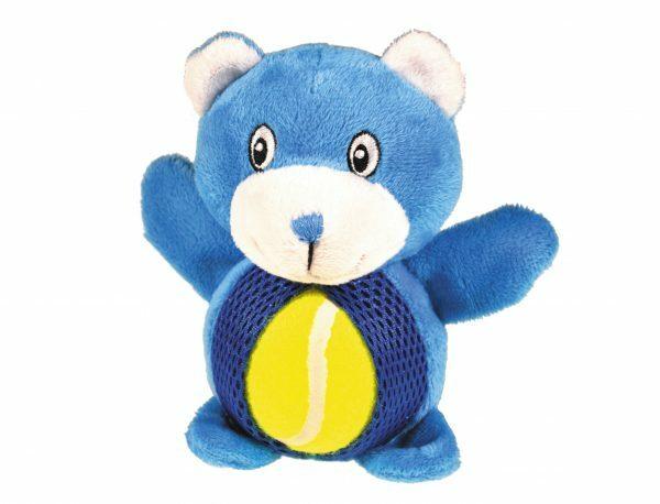 Speelgoed hond pluche beer tennis blauw 15cm