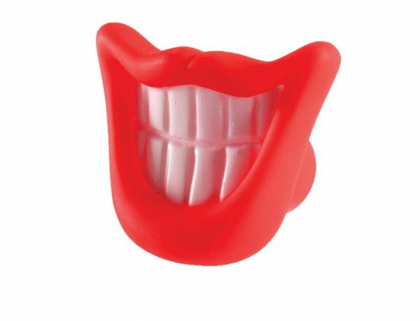 Speelgoed hond vinyl pieper mond rood 9cm