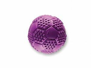 Speelgoed hond rubber voetbal paars Ø7cm